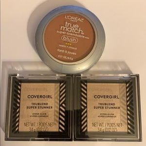 (2) Covergirl highlighter (1) L'Oréal blush bundle